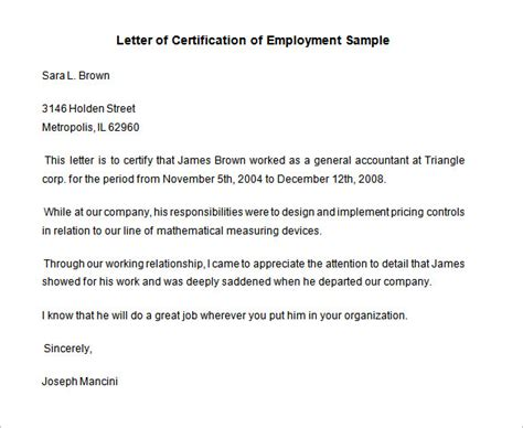 letter of certification of previous employment standard certification letter of employment sle with
