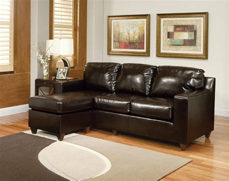 Small Leather Sofa With Chaise Small Space Sectional Leather Sofa With Chaise In Brown Decofurnish