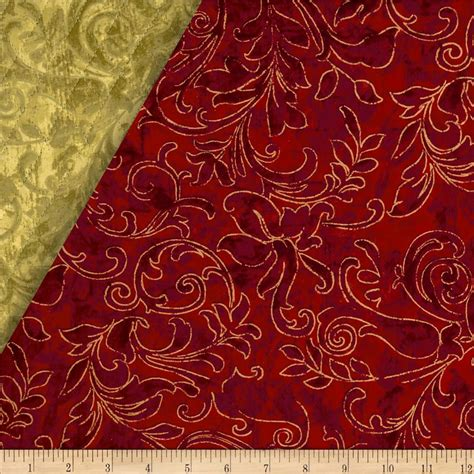 Pre Quilted Material by Season S Greetings Ii Quilted Swirl Gold