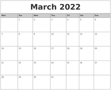 printable monthly calendar starting monday march 2022 monthly calendar printable