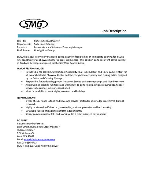 sle food service resume sle restaurant server resume 28 images server