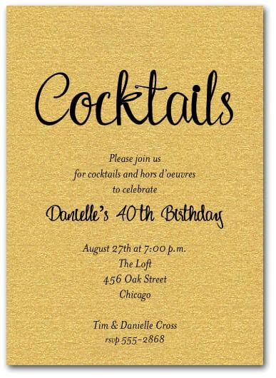 Hip Wedding Invitation Wording by Shimmery Gold Cocktail Invitations