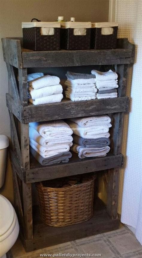 bathroom storage idea using old pallets for bathroom pallet wood projects
