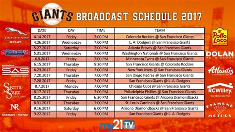 2017 broadcast schedule giants baseball on my21 tv krxi