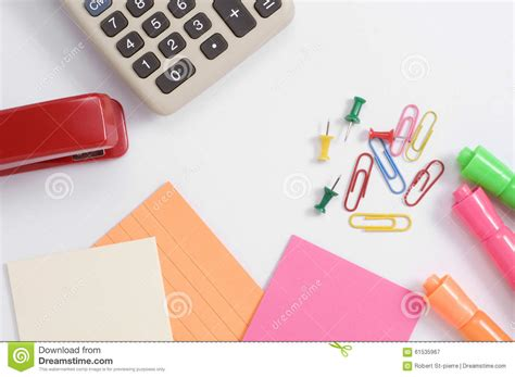 colorful office supplies colorful office supplies with calculator and red stapler