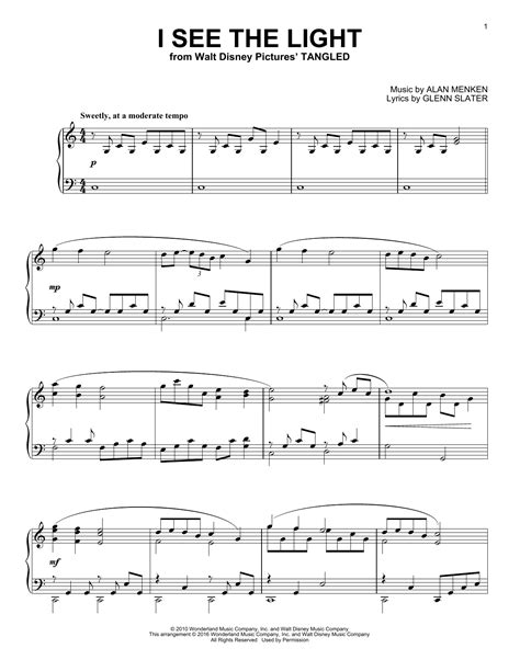 i see the light sheet by alan menken piano 163597