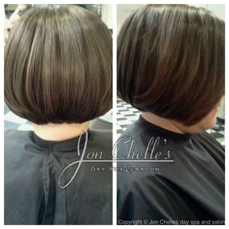 layered swing bob short long layered stacked bob haircut by melissa clarke