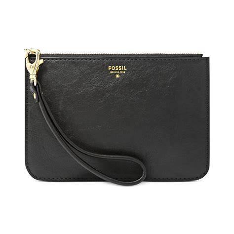 Fossil Pouch Leather fossil small leather zip pouch in black lyst