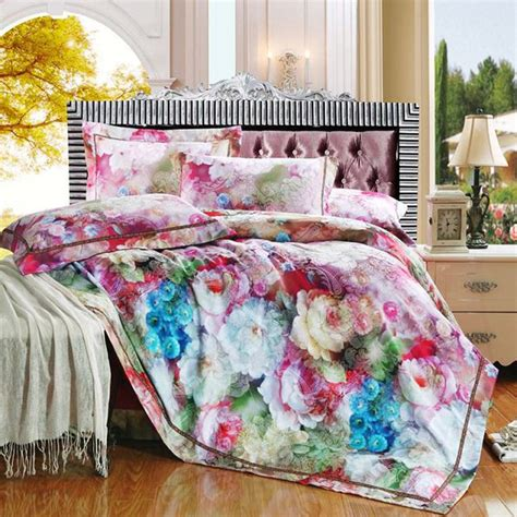 blue flower comforter set pink purple blue floral sain jacquard bedding comforter