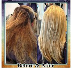 color correction brassy mess to level 10 platinum princess before and after of a color correction balayage by