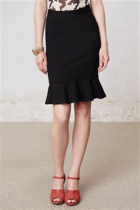 anthropologie ruffled ponte pencil skirt in black lyst