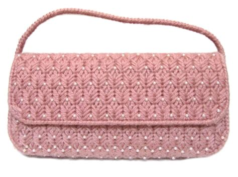 Handmade Crochet Bags And Purses - vintage handmade dusty pink yarn crochet knit pearl