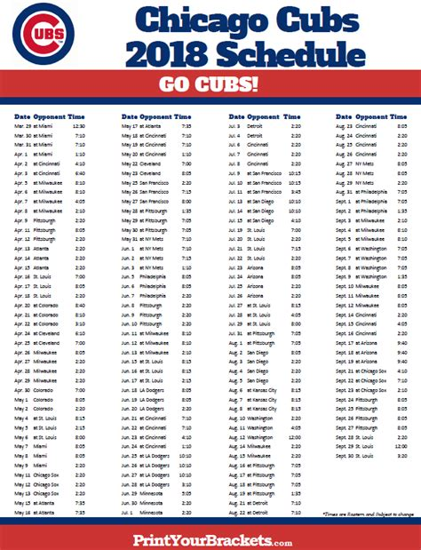 printable chicago cubs baseball schedule 2018