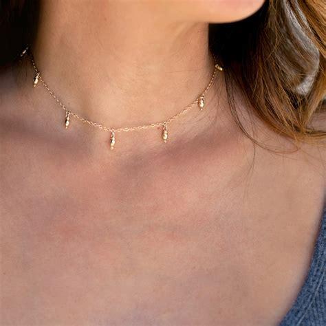 Drop Choker delicate gold choker necklace dainty choker necklacedew drop