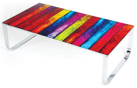 modern multi color glass coffee table rainbow modern
