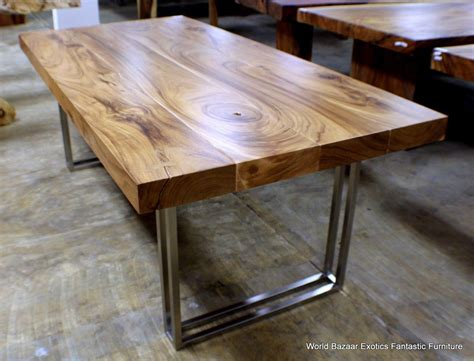 """79"""" L Dining table solid acacia wood slab stainless steel"""
