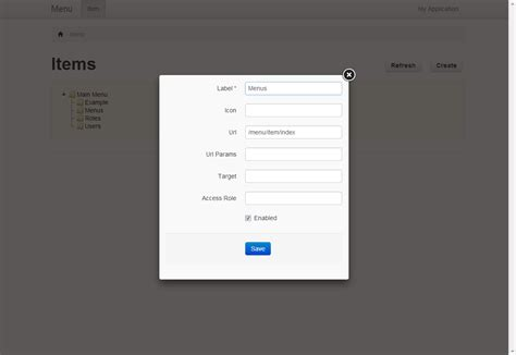 Design Form In Yii | yii menu module