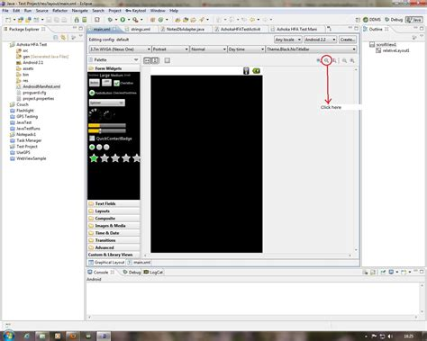 layout editor android eclipse how to make the eclipse android layout editor expand in