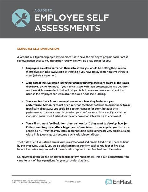 self assessment templates employees a guide to employee evaluations self assessment tool