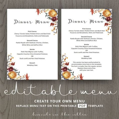 fall menu template 85 best wedding menu cards images on menu