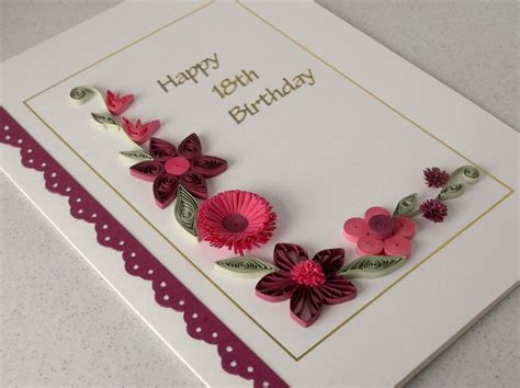 Handmade 18th Birthday Cards - handmade 18th birthday card with quilling flowers