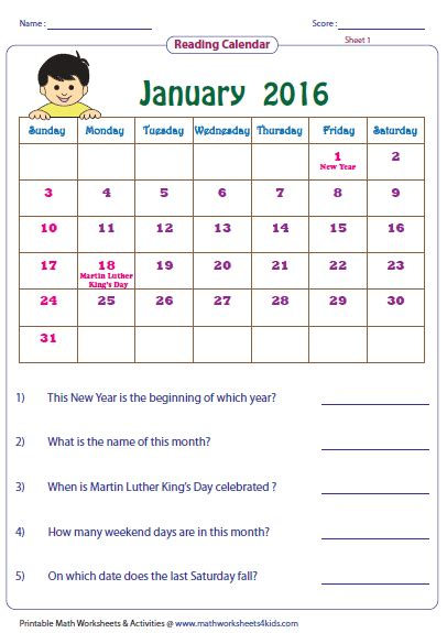 Calendar Worksheets For 1st Grade by Reading Calendar Worksheets With Word Problems