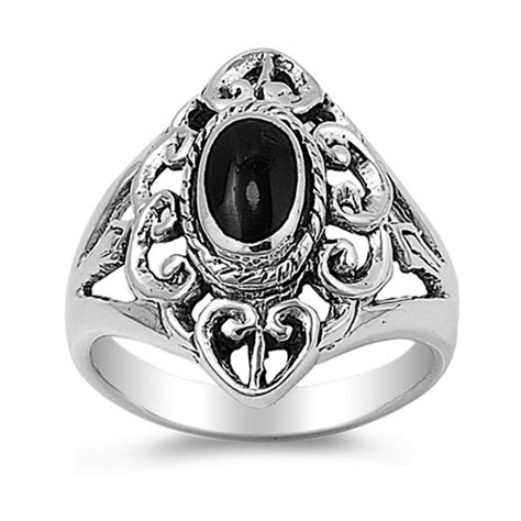 sterling silver s black onyx oval ring promise 925