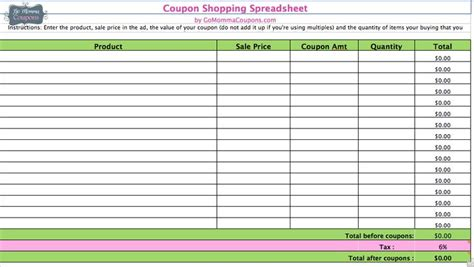 Best Photos Of Coupon Savings Tracker Printable Free Printable Coupon Spreadsheet Free Coupon Excel Spreadsheet Template