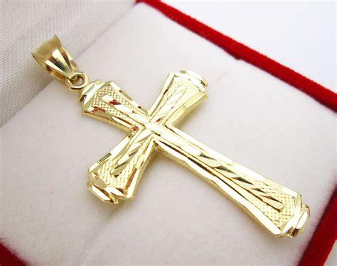 mens 10k yellow gold cross pendant cut gold