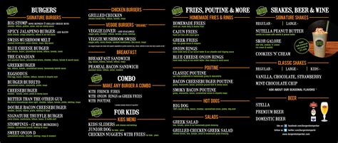 Top Bar Burger Menu by Menu Burger Stomper Gourmet Burger Milkshake Bar