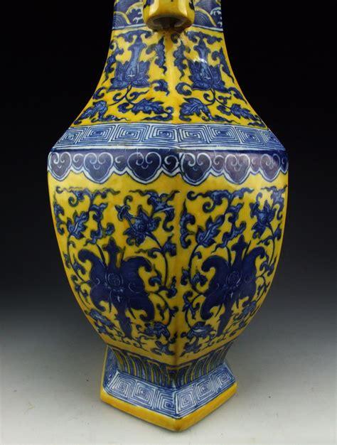 Yellow Blue Vase by Antique Blue Colored Yellow Glazed Porcelain Vase