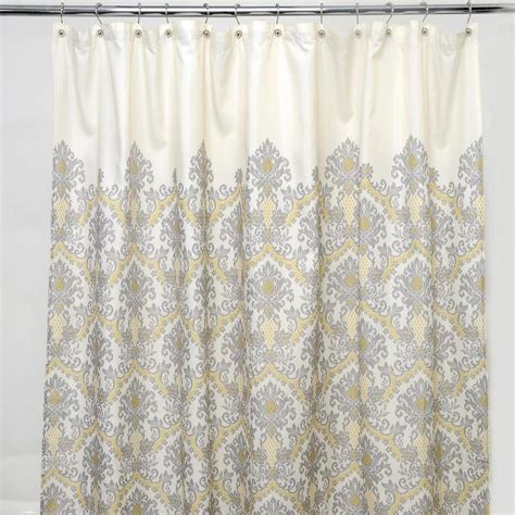 grey and ivory damask polyester shower curtain