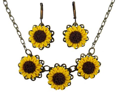 silver plated clip on sunflower earrings three yellow sunflowers jewelry set stranded treasures