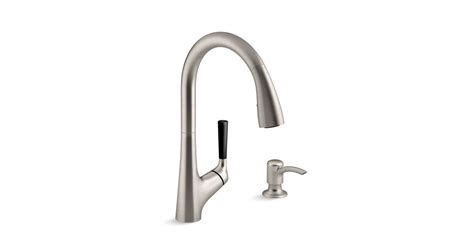 kohler malleco pull kitchen sink faucet with soap dispenser k r562 sd malleco 174 pull kitchen sink faucet with