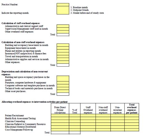 Overhead Calculation Spreadsheet by Appendix B Exle Data Collection Tools Continued
