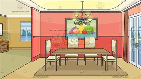 Chandeliers Dining Room by An Empty Dining Room Background Cartoon Clipart Vector Toons