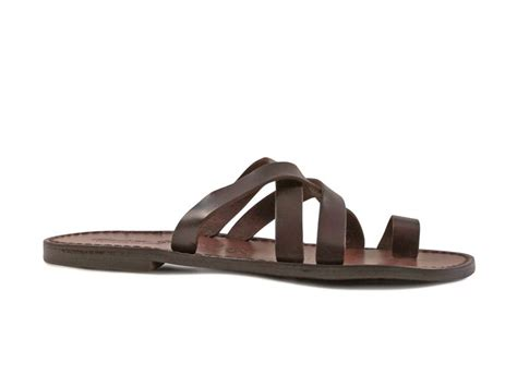 Handmade Italian Sandals - handmade mens brown leather flip flops sandals made in