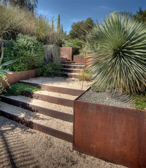 outdoor metal treppen beautiful corten steel planters shaped and inspired by nature