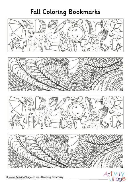 winter bookmarks coloring page fall doodle colouring bookmarks