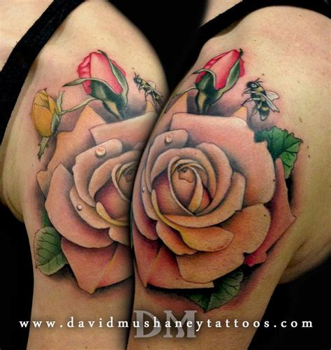 rose and bee tattoo pastel roses and bumble bee shoulder by david