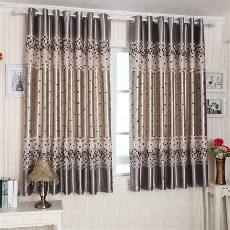 Primitive Window Curtains Primitive Casual Silver Gray Polyester Plaid Pattern Bay Window Curtain