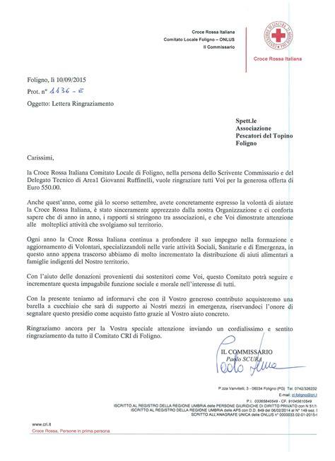 lettere di ringraziamento per donazioni ringraziamenti croce rossa italiana foligno per la