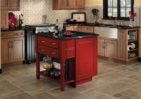 red kitchen island don t be afraid of color red kitchens leigh haven cabinets alberta