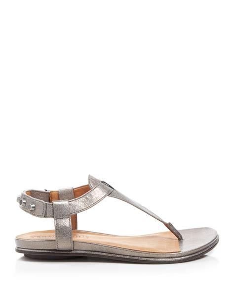 gentle souls sandals gentle souls flat sandals metallic t in gray