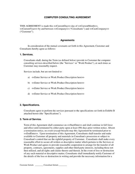 consultant contract template free it consultant contract template free printable documents