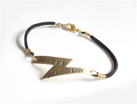 Harry Potter Lightning Bolt Bracelet Hand Stamped Black Suede Leather Personalized Jewelry on Luulla