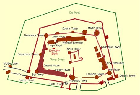 Tudor Floor Plans by Tower Of London Map