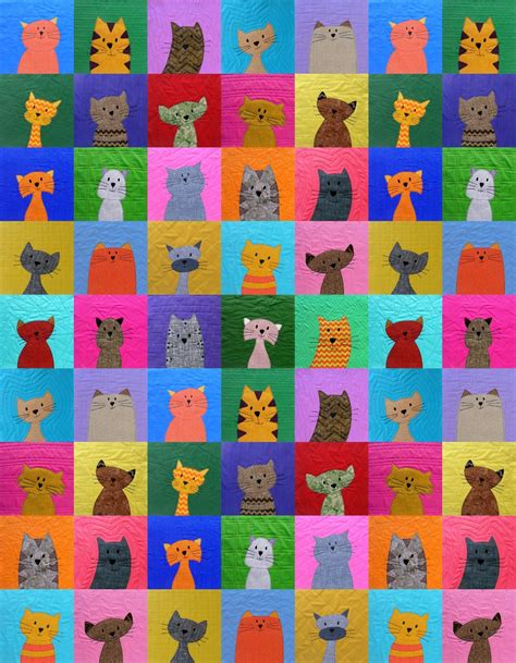 Calico Cats and Orange Toms Quilt by Woof Nanny, via