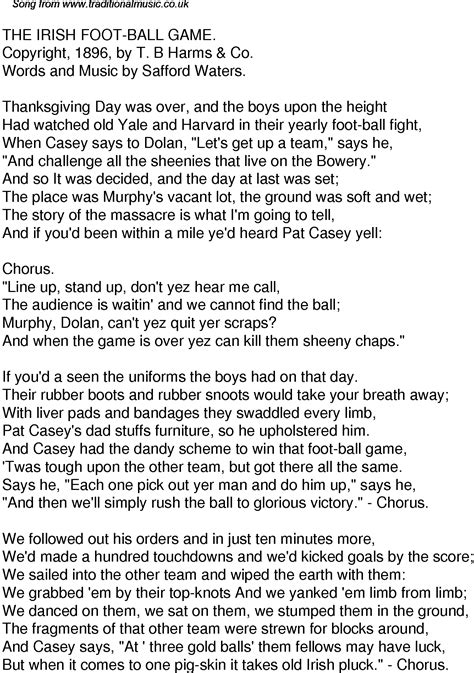 Old Time Song Lyrics for 55 The Irish Foot Ball Game