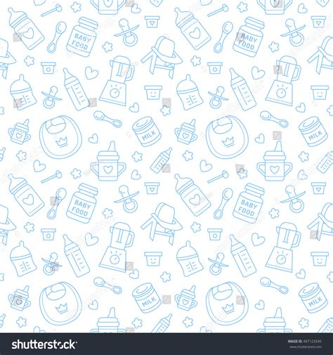 feeding pattern en francais seamless pattern baby food pastel color stock vector